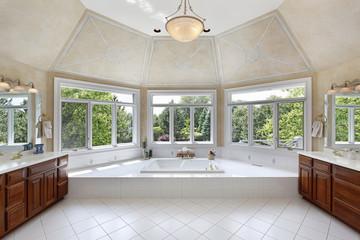 Master bath with windowed tub area