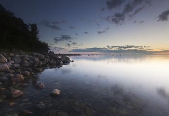 Twilight coast scene. Southern of Sweden.