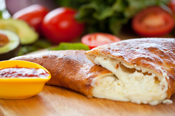 Calzone cheese Close up 2