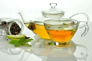 loose green tea composition