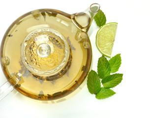 teapot with green tea ,mint and lemon