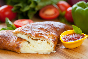 Calzone cheese Close up 1