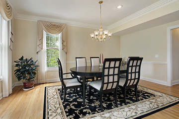 Dining room with black table