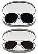 sunglasses (white plastic and black metal frames) in cases
