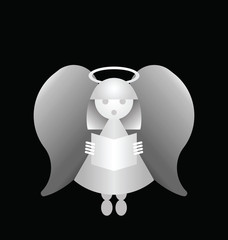 Conceptual angel isolated on a black background