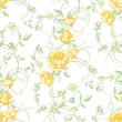 Roses and buds, seamless background