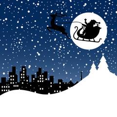 Christmas Sleigh & Rudolph Skyline Blue