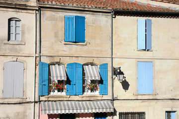 houses of provence  with turquoise jalousies