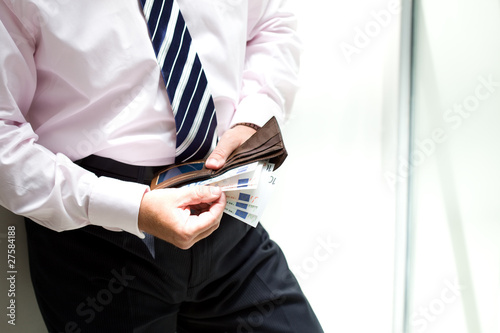Man holding a wallet