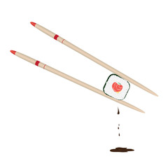 Roll with stuffing in form of a heart held by two chopsticks