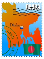 Dhaka - capital of Bangladesh. Vector stamp