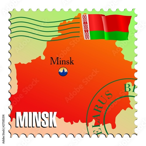 Minsk - capital of Belarus. Vector stamp