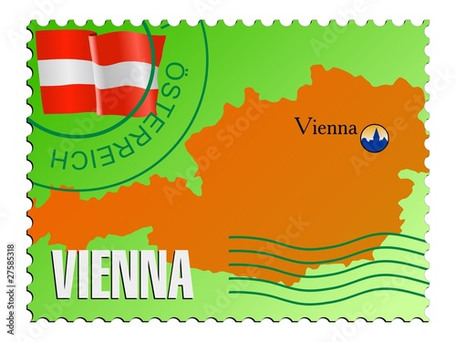 Vienna - capital of Austria. Vector stamp