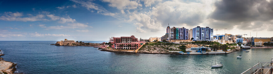 Panorama of St Julians, Malta