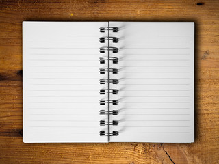 Open two blank white note book horizontal