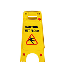 Caution wet floor sign isolated