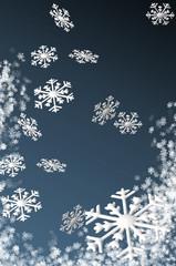 Schneeflocken in 3D am Himmel