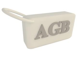 AGB Anhänger weiss Schrift grau