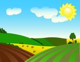 Environmentally prosperous rural landscape. poster