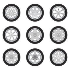 Set of cars's discs with tires