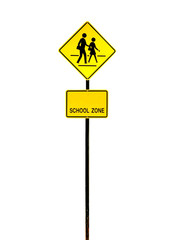 school zone sign isolated