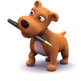 Fototapety 3d Dog with pen
