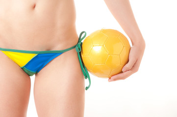 Brazilian Bikini Bottom model holding soccer ball