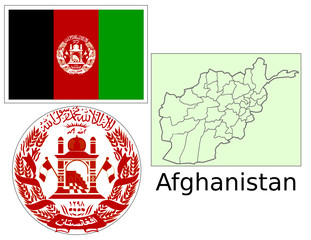 Afghanistan flag national emblem map