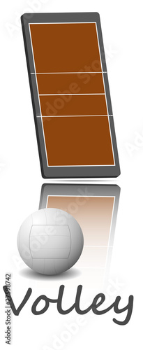 Illustration of a volleyball field and ball.