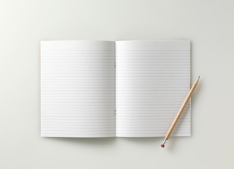 blank school exercise notebook  book  jotter with pencil