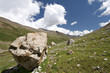 Rocks in valley,Caucasus mountains.Blue sky,clouds