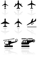 Vector set of different airplane and helicopter symbols.