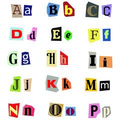 Alphabet aus Zeitungsausschnitten A-P