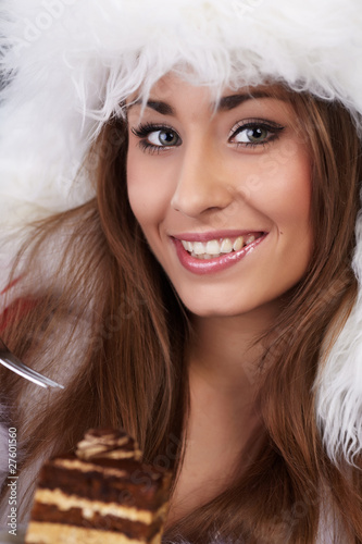 christmas girl eating cake