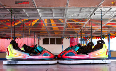 The Dodgem Cars on a Fun Fair Amusement Ride.