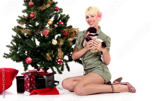 Christmas tree, young happy woman