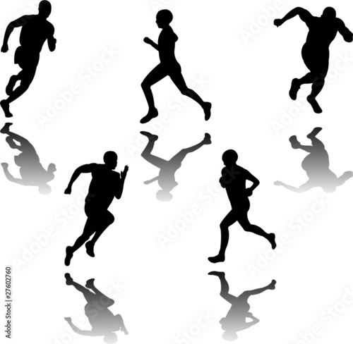 silhouette of runners - vector