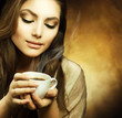 Quadro Beautiful Woman with cup of Coffee