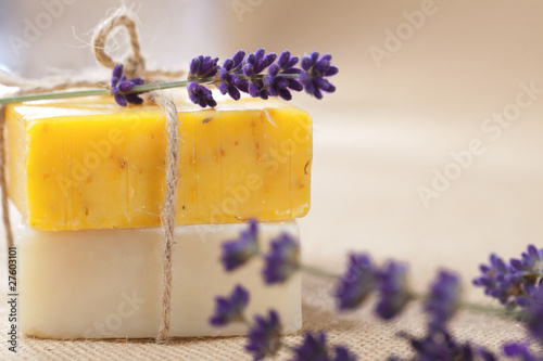 handmade  soap bars with lavender flowers, shallow DOF - 27603101