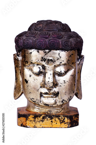 Buddha face statue isolated on white