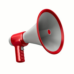 Megaphone on white background. Isolated 3D image