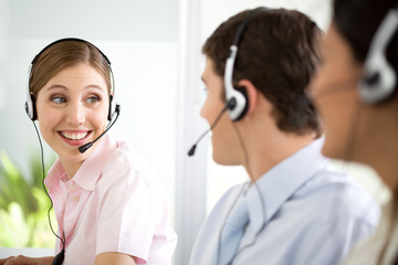 People at a call center