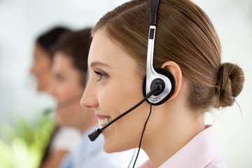Profile view of a girl at a call center