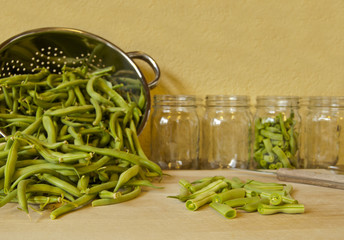 Cutting green beans in preparation for canning