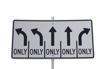 Highway direction sign, left turn, right turn, straight only