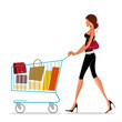 shopping lady with trolley