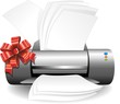 Stampante Regalo con Fiocco-Printer Gift with Bow-Vector