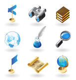 Isometric-style icons for geography poster