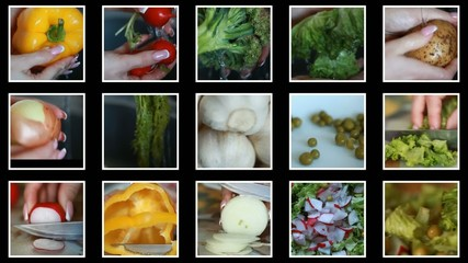 Preparation of vegetable salad. Vegetable dishes