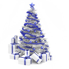 blue and white christmas tree isolated